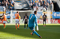 Houston Dynamo goalkeeper Tally Hall (1) puts a ball into play. The Philadelphia Union defeated the Houston Dynamo 3-1 during a Major League Soccer (MLS) match at PPL Park in Chester, PA, on September 23, 2012.