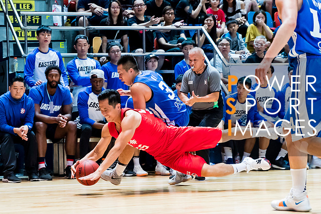 Li Kim Wong #55 of SCAA Men's Basketball Team fight for the ball during the Hong Kong Basketball League playoff game between SCAA and Eastern Long Lions at Queen Elizabeth Stadium on July 27, 2018 in Hong Kong. Photo by Yu Chun Christopher Wong / Power Sport Images