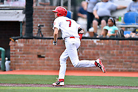Johnson City Cardinals third baseman Brady Whalen (7) runs to first base during a game against the Bristol Pirates at TVA Credit Union Ballpark on June 23, 2017 in Johnson City, Tennessee. The Pirates defeated the Cardinals 4-3. (Tony Farlow/Four Seam Images)
