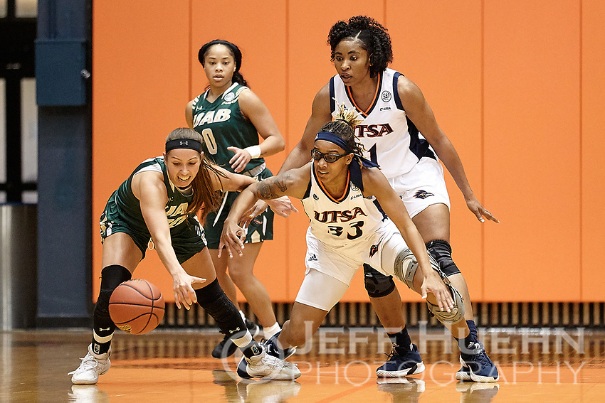 SAN ANTONIO, TX - JANUARY 19, 2019: The University of Texas at San Antonio Roadrunners fall to the University of Alabama at Birmingham Blazers 59-42 at the UTSA Convocation Center. (Photo by Jeff Huehn)