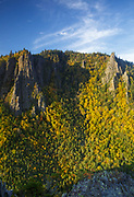 Dixville Notch State Park in New Hampshire USA from a scenic viewpoint along the Sanguinary Ridge Trail during the autumn months.