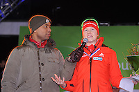 SCHAATSEN: AMSTERDAM: Olympisch Stadion, 01-03-2014, KPN NK Sprint/Allround, Coolste Baan van Nederland, podium Dames Sprint 1000m, Humberto Tan interviewt Lotte van Beek, ©foto Martin de Jong