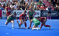 Spain's Georgina Oliva trying to get past Ireland's defence<br /> <br /> Photographer Hannah Fountain/CameraSport<br /> <br /> Vitality Hockey Women's World Cup - Ireland v Spain - Saturday 4th August 2018 - Lee Valley Hockey and Tennis Centre - Stratford<br /> <br /> World Copyright &copy; 2018 CameraSport. All rights reserved. 43 Linden Ave. Countesthorpe. Leicester. England. LE8 5PG - Tel: +44 (0) 116 277 4147 - admin@camerasport.com - www.camerasport.com