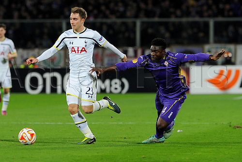 26.02.2015.  Florence, Italy. Europa League Football. Fiorentina versus Tottenham Hotspur. Christian Eriksen is challenged by Micah Richards