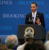 Washington, DC - December 8, 2009 -- United States President Barack Obama speaks about job creation and economic growth at the Brookings Institution on Tuesday, December 8, 2009 in Washington, DC. President Obama said that he hopes new jobs will be created with the implementation of clean energy investments, small business tax credits and infrastructure funding. .Credit: Mark Wilson / Pool via CNP