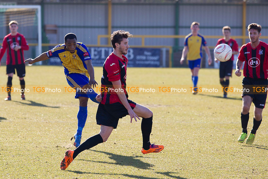 Tyrone Scarlett of Romford spectacular long range effort put the hosts 2-0 to the good  - Romford vs Chatham Town - Ryman League Division One North Football at the Thurrock FC, Ship Lane - 07/03/15 - MANDATORY CREDIT: Ray Lawrence/TGSPHOTO - Self billing applies where appropriate - contact@tgsphoto.co.uk - NO UNPAID USE