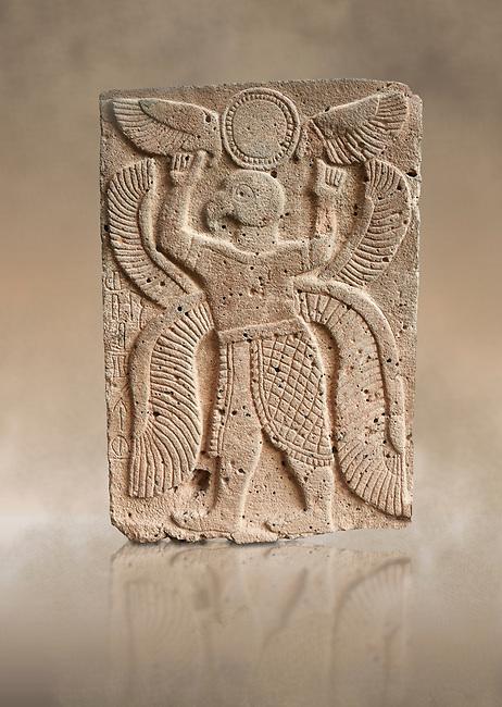 Pictures & images of the North Gate Hittite sculpture stele depicting a winged bird God. 8the century BC.  Karatepe Aslantas Open-Air Museum (Karatepe-Aslantaş Açık Hava Müzesi), Osmaniye Province, Turkey. Against art background