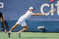 Washington, DC - August 3, 2019:  Alex De Minaur (AUS) streches for the ball during the  Men Doubles semi finals at William H.G. FitzGerald Tennis Center in Washington, DC  August 3, 2019.  (Photo by Elliott Brown/Media Images International)
