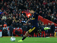 30th October 2019; Anfield, Liverpool, Merseyside, England; English Football League Cup, Carabao Cup, Liverpool versus Arsenal; Dani Ceballos of Arsenal sees his penalty kick save by Caoimhin Kelleher of Liverpool during the penalty shootout  - Strictly Editorial Use Only. No use with unauthorized audio, video, data, fixture lists, club/league logos or 'live' services. Online in-match use limited to 120 images, no video emulation. No use in betting, games or single club/league/player publications