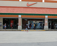 St. Augustine, FL June 27th:  Nike limiting the number of patrons and requiring a mask when inside their store at the St. Augustine Premium Outlets.  St. Augustine, Florida June 27th, 2020 Credit: Edward Kerns II/MediaPunch<br /> CAP/MPI/EK2<br /> ©EK2/MPI/Capital Pictures