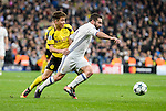 Real Madrid's Daniel Carvajal and Borussia Dortmund OEmre Mor during the UEFA Champions League match between Real Madrid and Borussia Dortmund at Santiago Bernabeu Stadium in Madrid, Spain. December 07, 2016. (ALTERPHOTOS/BorjaB.Hojas)