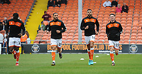(l-r) Blackpool's Joe Dodoo, Liam Feeney, Curtis Tilt and Jordan Thompson during the pre-match warm-up <br /> <br /> Photographer Kevin Barnes/CameraSport<br /> <br /> The EFL Sky Bet League One - Blackpool v Gillingham - Saturday 4th May 2019 - Bloomfield Road - Blackpool<br /> <br /> World Copyright © 2019 CameraSport. All rights reserved. 43 Linden Ave. Countesthorpe. Leicester. England. LE8 5PG - Tel: +44 (0) 116 277 4147 - admin@camerasport.com - www.camerasport.com