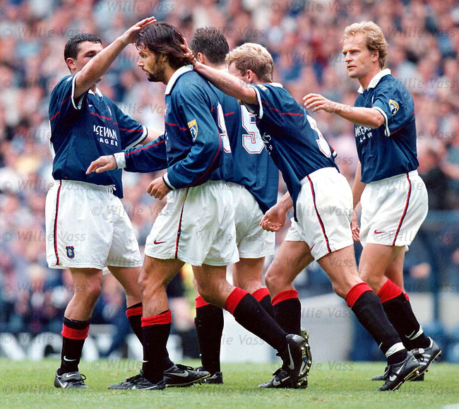 Rangers v Dundee Utd 23.8.97:  Marco Negri celebrates his third goal