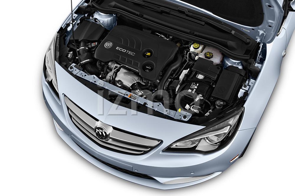 Car Stock 2018 Buick Cascada Premium 2 Door Convertible Engine  high angle detail view