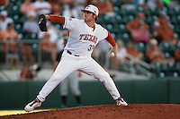 Texas Longhorns  pitcher Dillon Peters #32 delivers during the NCAA baseball game against the Central Arkansas Bears on April 24, 2012 at the UFCU Disch-Falk Field in Austin, Texas. The Longhorns beat the Bears 4-2. (Andrew Woolley / Four Seam Images)