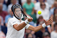 Novak Djokovic (2) of Serbia in action against Adrian Mannarino of France in their Men&sbquo;&Auml;&ocirc;s Singles Fourth Round Match today<br /> <br /> Photographer Ashley Western/CameraSport<br /> <br /> Wimbledon Lawn Tennis Championships - Day 8 - Tuesday 11th July 2017 -  All England Lawn Tennis and Croquet Club - Wimbledon - London - England<br /> <br /> World Copyright &not;&copy; 2017 CameraSport. All rights reserved. 43 Linden Ave. Countesthorpe. Leicester. England. LE8 5PG - Tel: +44 (0) 116 277 4147 - admin@camerasport.com - www.camerasport.com