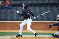 Michael Turconi (6) of the Wake Forest Demon Deacons follows through on his swing against the Illinois Fighting Illini at David F. Couch Ballpark on February 16, 2019 in  Winston-Salem, North Carolina.  The Fighting Illini defeated the Demon Deacons 5-2. (Brian Westerholt/Four Seam Images)