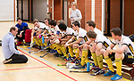 Almere - Zaalhockey  SCHC-Victoria (5-7)   . teambespreking Victoria met coach Eelko van Roon   . TopsportCentrum Almere.    COPYRIGHT KOEN SUYK