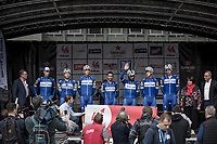 Team Quick Step Floors at the pre race team presentation. <br /> <br /> <br /> 78th Euro Metropole Tour 2018<br /> La Louvi&egrave;re &ndash; Tournai (BEL): 206km