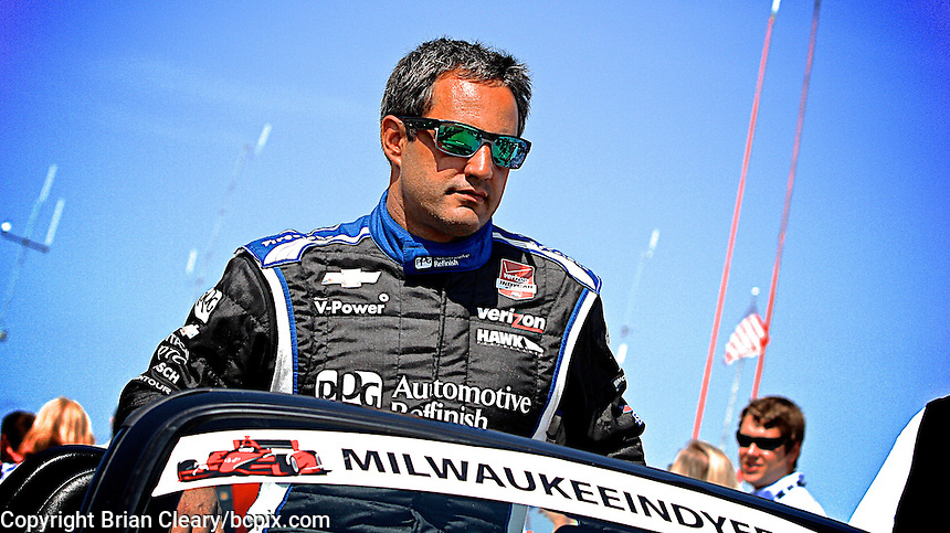 Juan Pablo Montoya, Milwaukee Indy Fest 250, Milwaukee Mile Speedway, Milwaukee, WI, August 2014.  (Photo by Brian Cleary/www.bcpix.com)