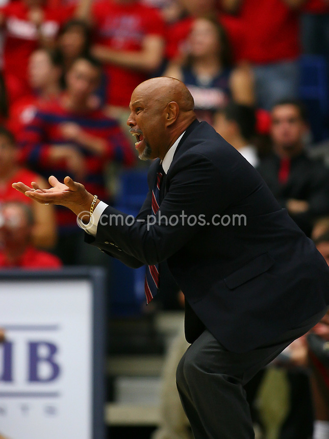 Nov 17, 2008; Tucson, AZ, USA; Florida Atlantic Owls head coach Mike Jarvis reacts to a foul call in the first half of a NIT Season Tip-Off game against the Arizona Wildcats at the McKale Center.  Arizona won the game 75-62.  Mandatory Credit: Chris Morrison-US PRESSWIRE