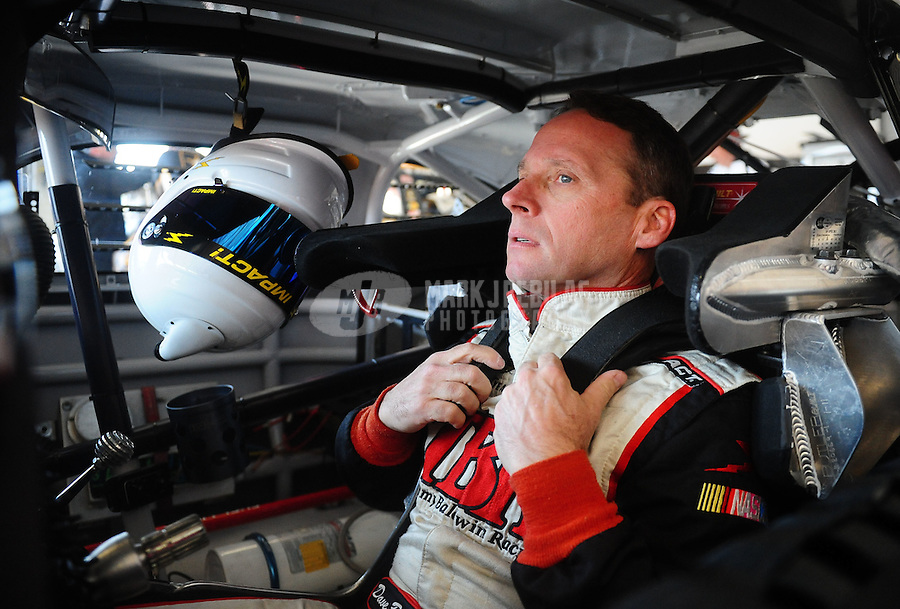 Feb 19, 2011; Daytona Beach, FL, USA; NASCAR Sprint Cup Series driver Dave Blaney during practice for the Daytona 500 at Daytona International Speedway. Mandatory Credit: Mark J. Rebilas-