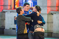 Saturday  17 December 2016<br /> Pictured: Men brawl on Swansea's Wind Street <br /> Re: Swansea City Centre and the notorious Wind street, often nicknamed 'Wine Street' is packed full of Christmas jumpers and glitzy dresses as thousands head to office dos across the UK in the biggest party night of the year.