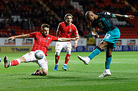 Andre Ayew of Swansea City (R) takes a shot during the Sky Bet Championship match between Charlton Athletic and Swansea City at The Valley, London, England, UK. Wednesday 02 October 2019
