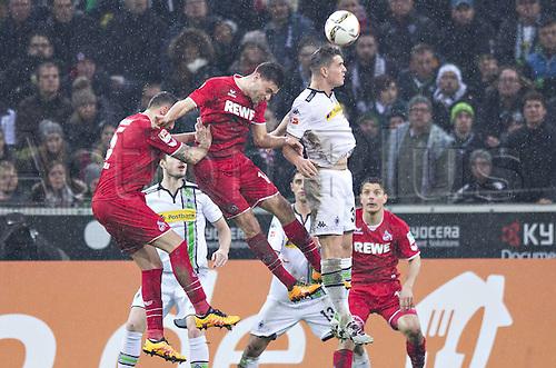 20.02.2016. Borussia Park, Mönchengladbach, North Rhine-Westphalia, Germany. Bundesliga football, Borussia Moenchengladbach verus Cologne.  Granit Xhaka (BMG) challenges  Jonas Hector (Col) for the header
