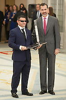 King Felipe VI of Spain awards David Casinos during the 2013 Sports National Awards ceremony at El Pardo palace in Madrid, Spain. December 03, 2014. (ALTERPHOTOS/Victor Blanco)