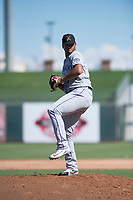 Salt River Rafters relief pitcher Jesus Tinoco (74), of the Colorado Rockies organization, delivers a pitch during an Arizona Fall League game against the Surprise Saguaros on October 9, 2018 at Surprise Stadium in Surprise, Arizona. The Rafters defeated the Saguaros 10-8. (Zachary Lucy/Four Seam Images)