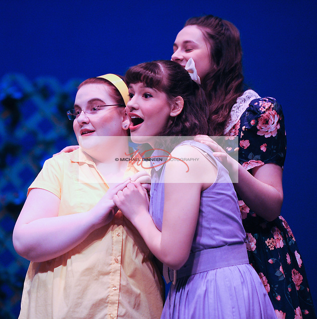 Ensemble member Erin Bush of CHS, ERHS Jenni Hunting as Helen and Amber Pike of marvel at Conrad Birdie during a song.