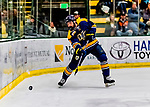 26 January 2019: Merrimack College Warrior Defenseman Matt McArdle, a Graduate student from Annapolis, MD, in second period action against the University of Vermont Catamounts at Gutterson Fieldhouse in Burlington, Vermont. The Warriors fell to the Catamounts 4-3 in overtime after tying up the game in the dyeing seconds of the third period of their America East conference game. Mandatory Credit: Ed Wolfstein Photo *** RAW (NEF) Image File Available ***