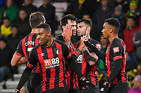 Junior Stanislas of AFC Bournemouth right is congratulated after scoring the first goal during AFC Bournemouth vs Norwich City, Caraboa Cup Football at the Vitality Stadium on 30th October 2018