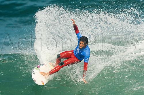 April 19th Bells Beach, Melbourne, Victoria, Australia; Rip Curl Pro Bells Beach Surfing; Ezekiel Lau (HAW) surfing a wave during his quarter final heat against Filipe Toledo (BRA); Ezekiel Lau (HAW) went on to win the heat