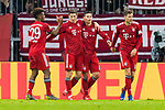 17.03.2019, Allianz Arena, Muenchen, GER, 1.FBL,  FC Bayern Muenchen vs. Mainz 05, DFL regulations prohibit any use of photographs as image sequences and/or quasi-video, im Bild Jubel nach dem Tor zum 2-0 durch James Rodriguez (FCB #11)  mit Kingsley Coman (FCB #29) Robert Lewandowski (FCB #9) Niklas Suele (FCB #4) <br /> <br />  Foto &copy; nordphoto / Straubmeier