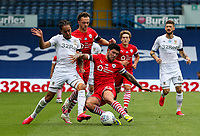 Leeds United's Helder Costa vies for possession with Barnsley's Alex Mowatt and Jordan Williams<br /> <br /> Photographer Alex Dodd/CameraSport<br /> <br /> The EFL Sky Bet Championship - Leeds United v Barnsley - Thursday 16th July 2020 - Elland Road - Leeds<br /> <br /> World Copyright © 2020 CameraSport. All rights reserved. 43 Linden Ave. Countesthorpe. Leicester. England. LE8 5PG - Tel: +44 (0) 116 277 4147 - admin@camerasport.com - www.camerasport.com