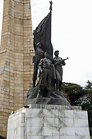 ETHIOPIA , Addis Ababa, The Tiglachin Monument, also known as Derg Monument at Churchill Avenue, Derg was the communist regime under dictator Mengistu Haile Mariam, is a memorial to Ethiopian and Cuban soldiers involved in the Ogaden War between Somalia and Ethiopia, inaugurated on 12 September 1984, the statuary was donated by North Korea, and was manufactured by the Mansudae Art Studio / AETHIOPIEN, Addis Abeba, Monument aus der kommunistischen Derg Zeit
