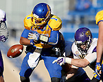 BROOKINGS, SD - OCTOBER 24:  Taryn Christion #1 from South Dakota State fumbles the ball while being brought down by a pair of defenders from University of Northern Iowa in the third quarter of their game Saturday afternoon at Coughlin Alumni Stadium in Brookings. (Photo by Dave Eggen/Inertia)