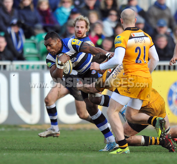 Semesa Rokoduguni goes on the attack. Aviva Premiership match, between Bath Rugby and London Wasps on February 22, 2014 at the Recreation Ground in Bath, England. Photo by: Patrick Khachfe / Onside Images