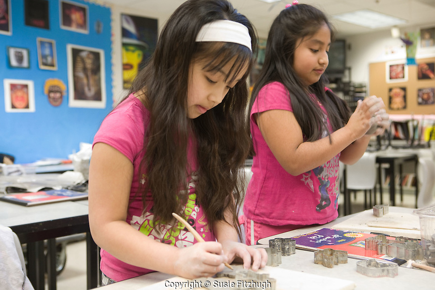 Students in Shannon Anderson's Visual Arts class at Cascade View Elementary School in Tukwila, WA.