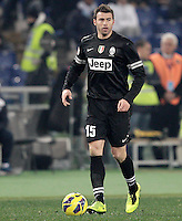 Calcio, semifinale di ritorno di Coppa Italia: Lazio vs Juventus. Roma, stadio Olimpico, 29 gennaio 2013..Juventus defender Andrea Barzagli in action during the Italy Cup football semifinal return leg match between Lazio and Juventus at Rome's Olympic stadium, 29 January 2013..UPDATE IMAGES PRESS/Riccardo De Luca