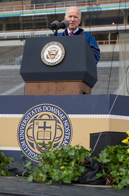 May 15, 2016; Laetare Medal recipient Vice President Joe Biden, delivers his address during the 2016 Commencement ceremony at Notre Dame Stadium. (Photo by Barbara Johnston/University of Notre Dame)