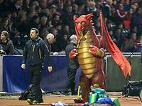 A Welsh dragon mascot inside Parc Eirias<br /> <br /> Photographer Alex Dodd/CameraSport<br /> <br /> RBS Six Nations U20 Championship Round 4 - Wales U20s v Ireland U20s - Saturday 11th March 2017 - Parc Eirias, Colwyn Bay, North Wales<br /> <br /> World Copyright &copy; 2017 CameraSport. All rights reserved. 43 Linden Ave. Countesthorpe. Leicester. England. LE8 5PG - Tel: +44 (0) 116 277 4147 - admin@camerasport.com - www.camerasport.com