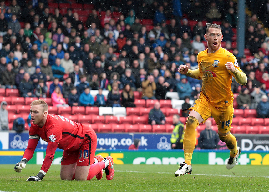 Preston North End's Joe Garner celebrates scoring his sides equalising goal to make the score 1-1<br /> <br /> Photographer David shipman/CameraSport<br /> <br /> Football - The Football League Sky Bet Championship - Blackburn Rovers v Preston North End - Saturday 2nd April 2016 - Ewood Park - Blackburn<br /> <br /> &copy; CameraSport - 43 Linden Ave. Countesthorpe. Leicester. England. LE8 5PG - Tel: +44 (0) 116 277 4147 - admin@camerasport.com - www.camerasport.com