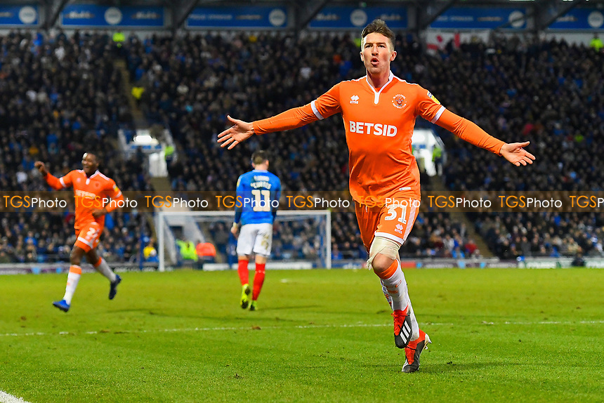 Chris Long of Blackpool  celebrates after scoring during Portsmouth vs Blackpool, Sky Bet EFL League 1 Football at Fratton Park on 12th January 2019