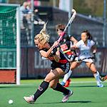 AMSTELVEEN -  Charlotte Vega (A'dam)    tijdens de hoofdklasse competitiewedstrijd hockey dames,  Amsterdam-Oranje Rood (5-2).  COPYRIGHT KOEN SUYK