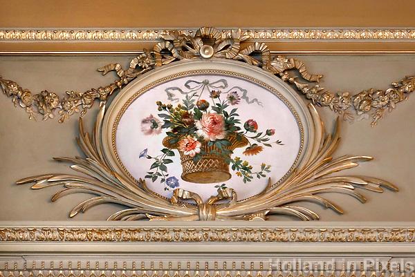 Nederland Baarn 2017. Paleis Soestdijk.  Wanddecoratie in een van de stijlkamers.  Foto Berlinda van Dam / Hollandse Hoogte