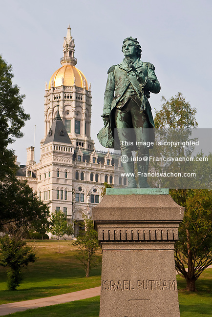 An Israel Putnam sculpture is pictured in front of the Connecticut Capitol in Hartford, Connecticut, Saturday August 6, 2011. Israel Putnam was an American army general and Freemason who fought with distinction at the Battle of Bunker Hill during the American Revolutionary War.