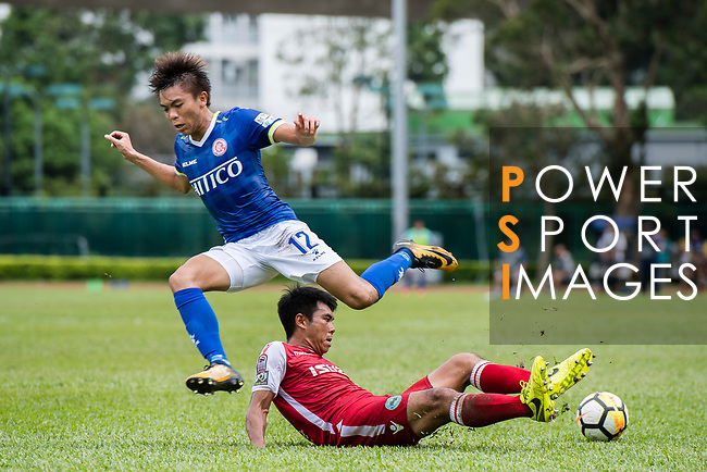 Kwok Fai Sham of Kwoon Chung Southern (R) trips up with Siu Kwan Cheng of Rangers (L) during the Premier League, week two match between Kwoon Chung Southern and BC Rangers at on September 09, 2017 in Hong Kong, China. Photo by Marcio Rodrigo Machado / Power Sport Images